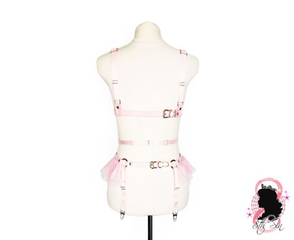 Pink Faux Leather Cage Harness Set